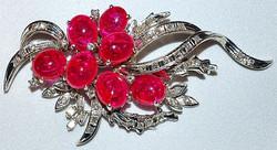 #190 Ruby & Diamond Brooch