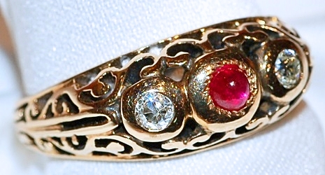 #631 14k Ruby & .20cts Diamond Ring