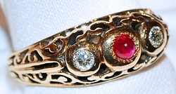 #631 14k Ruby & .20cts Diamond Ring