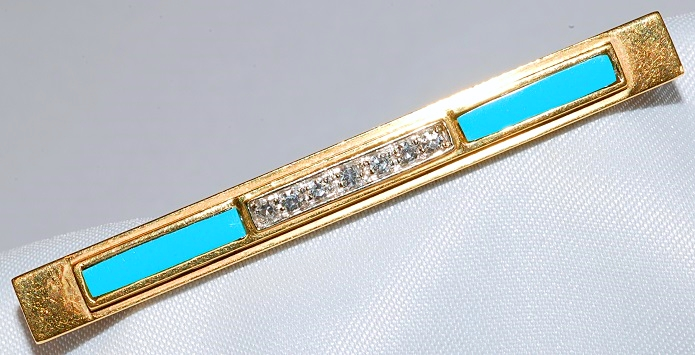 #30 - Retro Turquoise & Diamond Bar Pin
