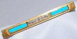 #30 - Retro Turquoise & Diamond Bar Pin