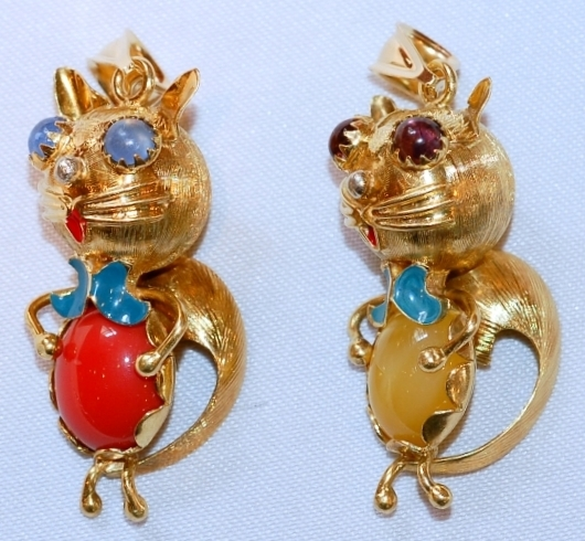 #408A-B 18k Enamel Brooches