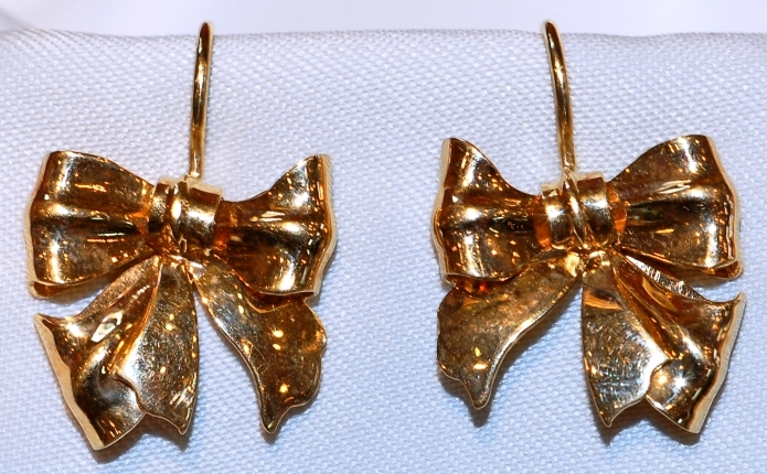 #421 Retro 14k Gold Bow Earrings