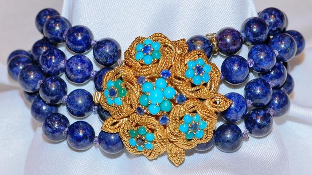 #598 Lapis & Turq Bracelet/Brooch