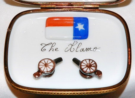Alamo Limoge Box Inside with Accessories Limoges Box