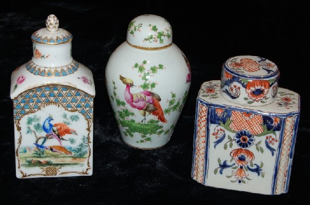 Various Porcelain Tea Caddies