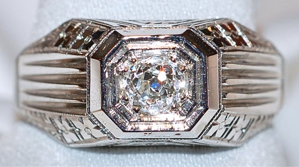 #741 Deco 18k OMC .57ct Diamond Ring
