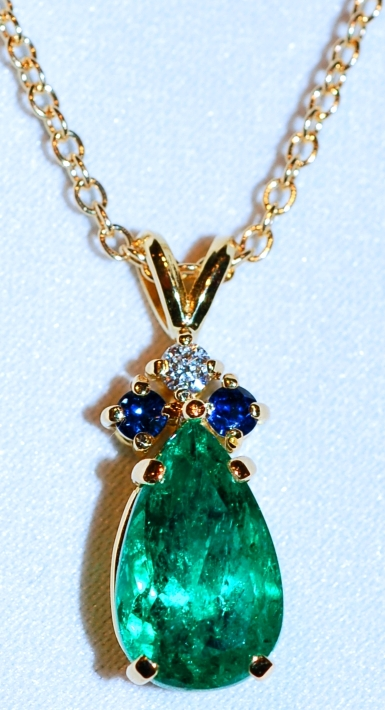 #795 18k Emerald &Multi Gem Pendant