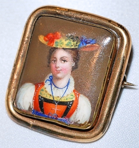 Antique Swiss Hand Portrait Pin