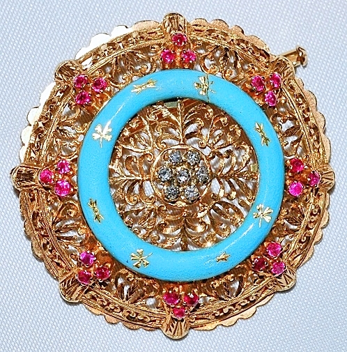 #123 Diamond, Ruby & Enamel Brooch
