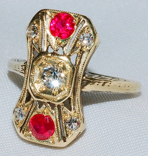 #103 - Art Deco Diamond Ruby Ring WEB