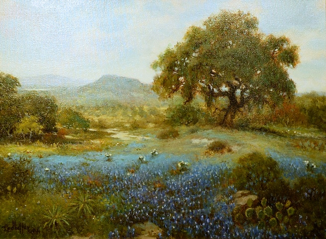 """March Blues in Tx"" Oil by Ledbetter"