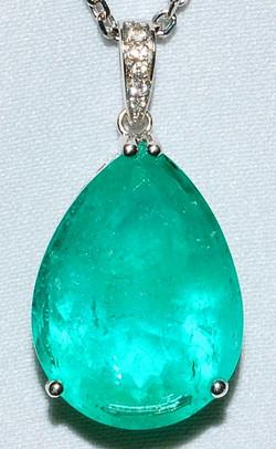 #1015 Emerald & Diamond Pendant WEB