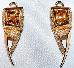 Citrine and Diamond Earrings