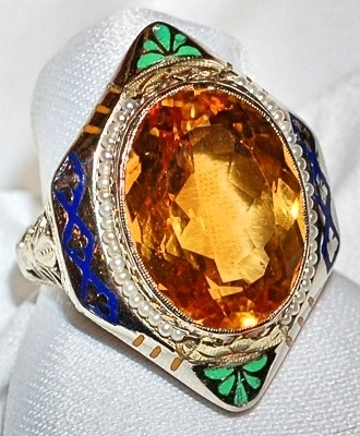 #953 14k Citrine & Enamel Ring