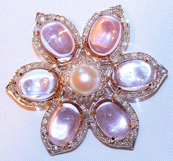 #455 - 18k WG Kunzite, Pearl & Diamond Brooch