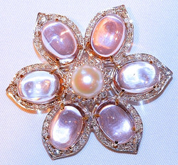 #455 - 18k WG Kunzite, Pearl & Diamond Brooch