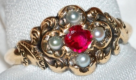 #651 9k Victorian Ruby & Pearl Ring