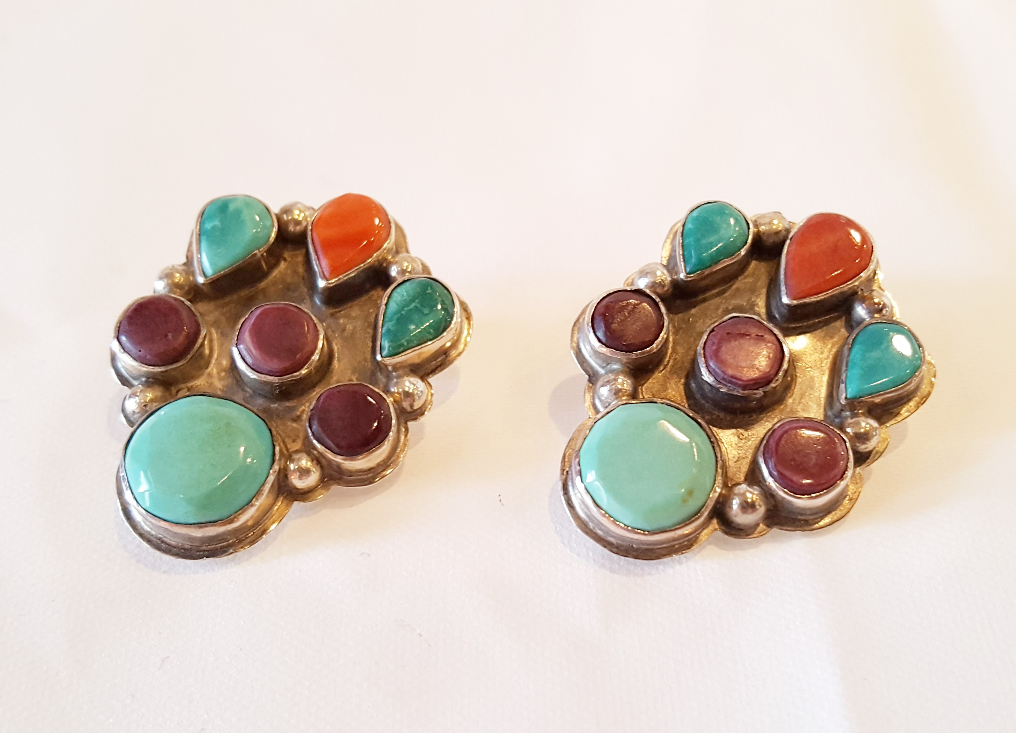 Vintage Sterling Multistone Earrings