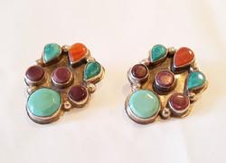 Vintage Sterling Multistone Earrings