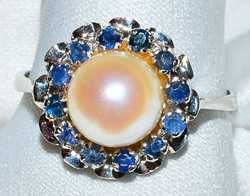 #237 - 14k Pearl & Sapphire Ring WEB