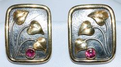 18k Sterling Ruby Art Nouveau Earrings W