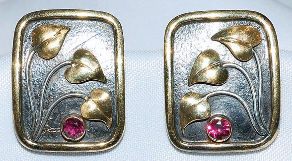 18k Sterling Ruby Art Nouveau Earrings W