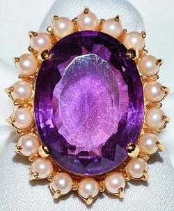#801 14k Amethyst & Pearl Ring