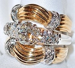 #102A&B 14k Dia 2.07ct Ring & Bands