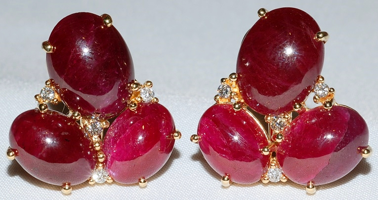 #523 - 18k Ruby & Diamond Earrings WEB