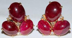 #523 - 18k Ruby & Diamond Earrings WEB