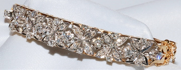 #28 - 14k Diamond Hinged Bangle Bracelet