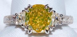 #556 - Platinum & Yellow Diamond Ring WE