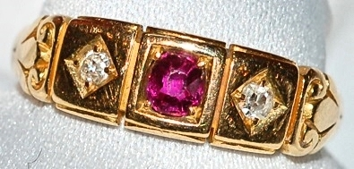 #683 18k Antique Ruby Diamond Ring