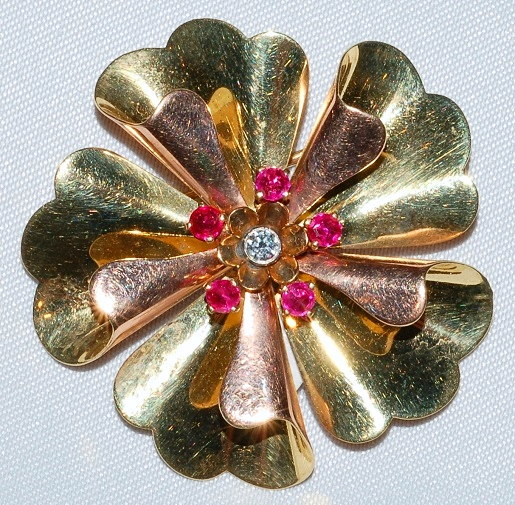 #415  Ruby & Diamond Flower Pin WEB
