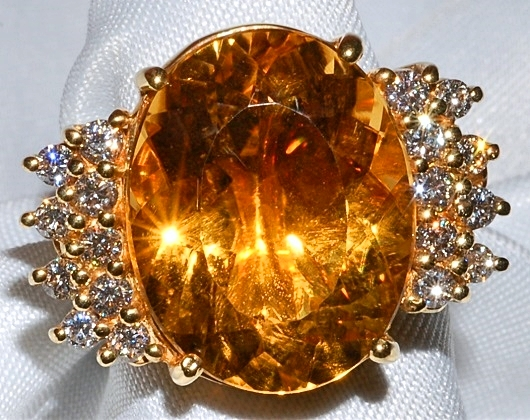 #813  18k YG Citrine & Diamond Ring WEB.