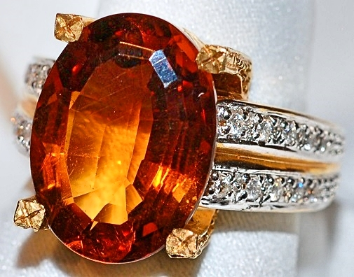 #305 Maderia Citrine & Diamond Ring