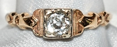 #813 Antique OEC-.32cts Ring