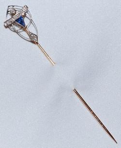 Plat Sapphire & Old Mine Stickpin