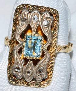 #352 - Antique Aquamarine & Diamond Ring