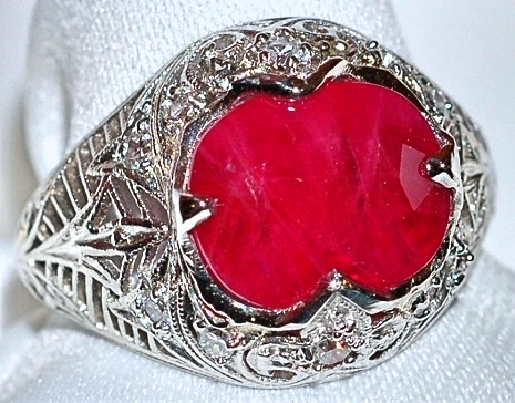#607 Plat Burmese Ruby Diamond Ring