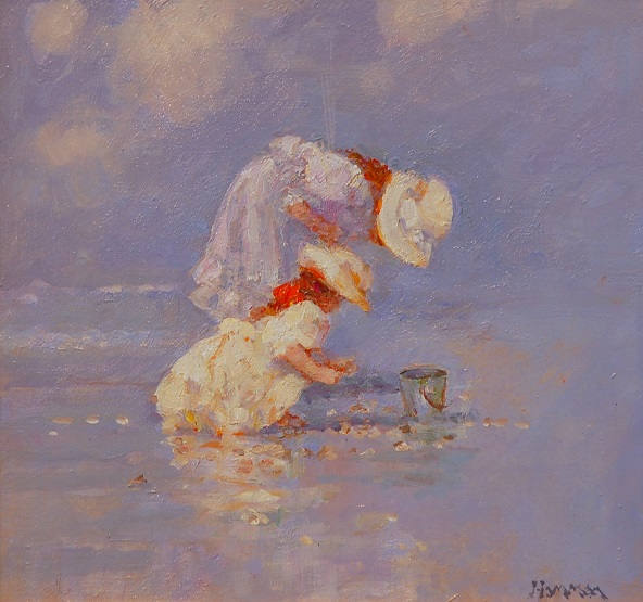 """Picking Up Shells"" Oil by R. Hamman"