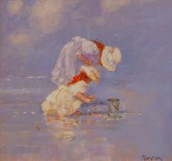 """Picking Up Shells"" Oil by R. Hamman"