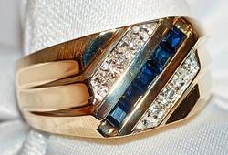 #814 14k Diamond .45ct & Sap Ring