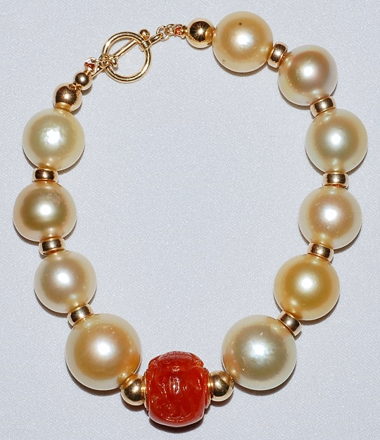 #830 - South Sea Pearl & Jade Bracelet W