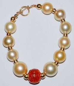 #830 - South Sea Pearl & Jade Bracelet W