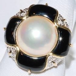 #8 - Mabe' Pearl Black Onyx & Diamond Ri