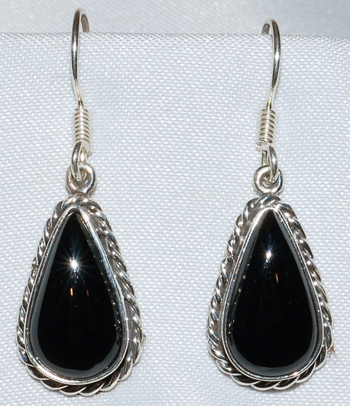 Taxco Sterling Onyx Earrings WEB