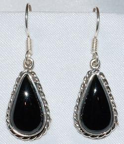 Taxco Sterling Onyx Earrings WEB