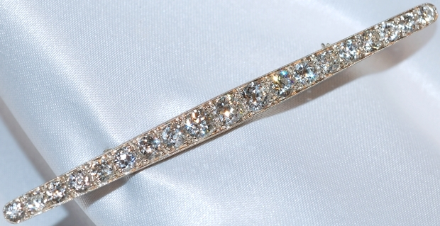 #330 Platinum 7.08ct Diamond Bar Pin